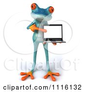 Clipart 3d Turquoise Springer Frog Holding And Pointing To A Laptop 1 Royalty Free CGI Illustration