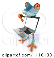 Clipart 3d Turquoise Springer Frog Holding And Pointing To A Laptop 2 Royalty Free CGI Illustration