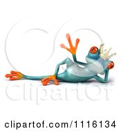 Clipart 3d Turquoise Springer Frog Prince Waving And Reclining Royalty Free CGI Illustration