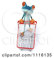 Clipart 3d Turquoise Springer Frog Pushing A Shopping Cart 1 Royalty Free CGI Illustration