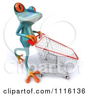 Clipart 3d Turquoise Springer Frog Pushing A Shopping Cart 2 Royalty Free CGI Illustration