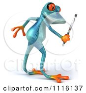 Clipart 3d Turquoise Springer Frog Using A Magnifying Glass 1 Royalty Free CGI Illustration