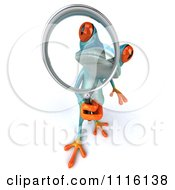 Clipart 3d Turquoise Springer Frog Using A Magnifying Glass 2 Royalty Free CGI Illustration