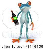 Clipart 3d Turquoise Springer Frog Holding A Wine Bottle 1 Royalty Free CGI Illustration
