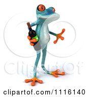 Clipart 3d Turquoise Springer Frog Holding A Wine Bottle 2 Royalty Free CGI Illustration