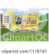 Clipart Happy School Bus Driver And Children On A City Road Royalty Free Vector Illustration by Hit Toon