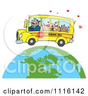 Clipart Happy School Bus Driver And Children Over A Globe With Hearts Royalty Free Vector Illustration by Hit Toon