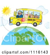Happy School Bus Driver And Children Over A Globe With Sunshine