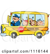 Happy School Bus Driver And Children