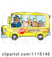 Clipart Happy School Bus Driver And Kids Royalty Free Vector Illustration by Hit Toon
