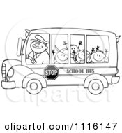 Clipart Outlined Happy School Bus Driver And Children Royalty Free Vector Illustration by Hit Toon