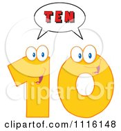 Clipart Happy Yellow Number Ten Talking 2 Royalty Free Vector Illustration