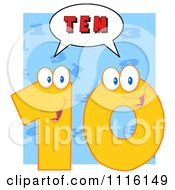 Clipart Happy Yellow Number Ten Talking 3 Royalty Free Vector Illustration