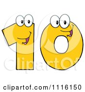 Clipart Happy Yellow Number Ten Royalty Free Vector Illustration by Hit Toon