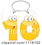 Clipart Happy Yellow Number Ten Talking 1 Royalty Free Vector Illustration