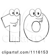 Clipart Happy Outlined Number Ten Royalty Free Vector Illustration