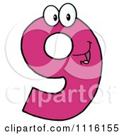 Clipart Happy Pink Number Nine Royalty Free Vector Illustration by Hit Toon