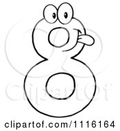 Clipart Happy Outlined Number Eight Royalty Free Vector Illustration by Hit Toon