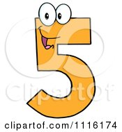 Clipart Happy Orange Number Five Royalty Free Vector Illustration by Hit Toon