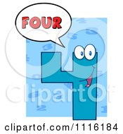 Clipart Happy Blue Number Four Talking 2 Royalty Free Vector Illustration by Hit Toon