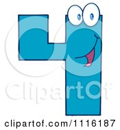 Clipart Happy Blue Number Four 2 Royalty Free Vector Illustration by Hit Toon