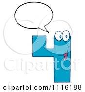 Clipart Happy Blue Number Four Talking 3 Royalty Free Vector Illustration by Hit Toon