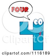 Clipart Happy Blue Number Four Talking 1 Royalty Free Vector Illustration by Hit Toon