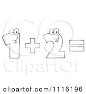 Clipart Happy Outlined Numbers One Plus Two Equals Royalty Free Vector Illustration by Hit Toon