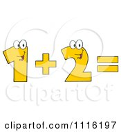 Clipart Happy Numbers One Plus Two Equals Royalty Free Vector Illustration by Hit Toon