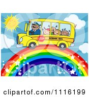 Happy School Bus Driver And Children On A Rainbow