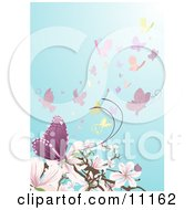 A Swarm Of Butterflies Near Pink And White Magnolia Blossoms Clipart Illustration
