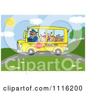 Clipart Happy School Bus Driver And Children On A Country Road Royalty Free Vector Illustration by Hit Toon