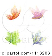 Clipart Abstract Butterfly Bird Flower And Leaf Icons Royalty Free Vector Illustration