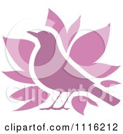 Clipart Purple Bird And Leaves Icon Royalty Free Vector Illustration