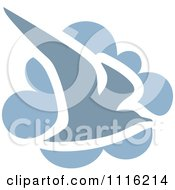 Clipart Blue Seagull Bird And Cloud Icon Royalty Free Vector Illustration