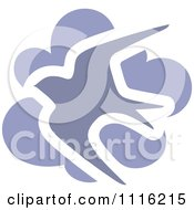 Clipart Purple Swallow Bird And Cloud Icon Royalty Free Vector Illustration