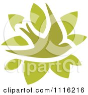 Clipart Green Swallow Bird And Leaves Icon Royalty Free Vector Illustration