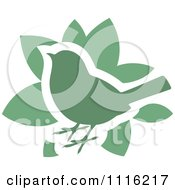Clipart Green Bird And Leaves Icon Royalty Free Vector Illustration