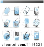 Clipart Blue And Gray Cell Phone Icons Royalty Free Vector Illustration