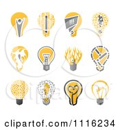 Creative Yellow And Black Lightbulb Icons