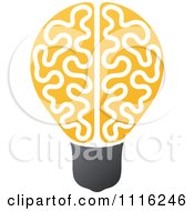 Clipart Yellow Brain Light Bulb Royalty Free Vector Illustration