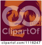 Clipart Womans Face Equalizer And Disco Text In Red And Orange Halftone Royalty Free Vector Illustration by elena