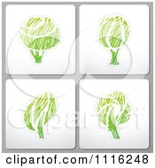 Clipart Green Tree Tiles On Gray Royalty Free Vector Illustration