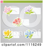 Clipart Colorful Flower And White Labels On Gray Royalty Free Vector Illustration