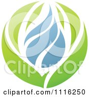 Clipart Green And Blue Natural Organic Leaves And Water Drop Sphere 2 Royalty Free Vector Illustration
