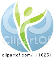 Clipart Green And Blue Natural Organic Sphere And Leaf Person Royalty Free Vector Illustration