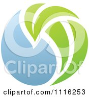 Clipart Green And Blue Natural Organic Sphere And Leaf 2 Royalty Free Vector Illustration