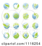 Clipart Round Green And Blue Organic Leaf Icons Royalty Free Vector Illustration