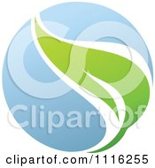 Clipart Green And Blue Natural Organic Sphere And Leaf 1 Royalty Free Vector Illustration