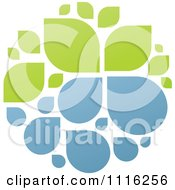 Clipart Green And Blue Natural Organic Sphere Of Water Droplets And Leaves Royalty Free Vector Illustration